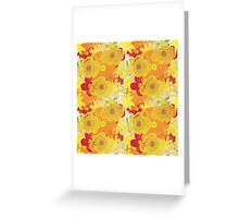 Garden Charm IV:  Floral Watercolor in Bright yellow, orange and red Greeting Card