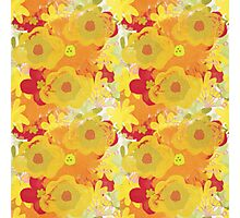 Garden Charm IV:  Floral Watercolor in Bright yellow, orange and red Photographic Print