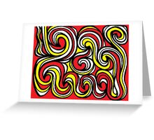 Mincey Abstract Expression Yellow Red Black Greeting Card