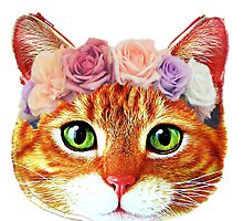 Flower Crowned Orange Tabby Cat by Cats-and-Stuff