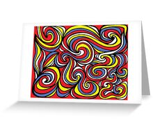 Lannom Abstract Expression Yellow Red Blue Greeting Card