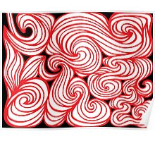 Tsai Abstract Expression Red White Black Poster