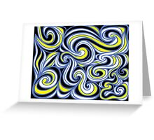Leehan Abstract Expression Yellow Blue Black Greeting Card