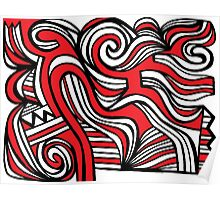 Ploetz Abstract Expression Red White Black Poster