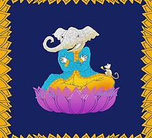 Ganesh on Lotus with Mouse by SusanSanford