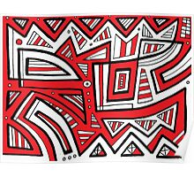 Haneline Abstract Expression Red White Black Poster