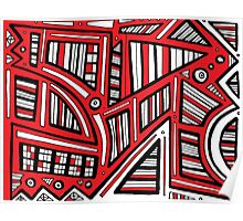 Pereida Abstract Expression Red White Black Poster