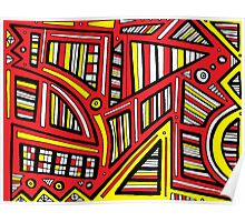 Pugmire Abstract Expression Yellow Red Black Poster