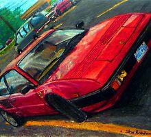 An oil pastel drawing of a 1982 Ferrari Mondial Quattrovalvole. by SteveBrandon