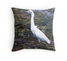 White Egret at St Andrews State Park Throw Pillow