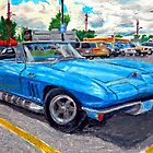 An oil pastel drawing of a mid-1960&#x27;s Corvette Stingray convertible. by SteveBrandon
