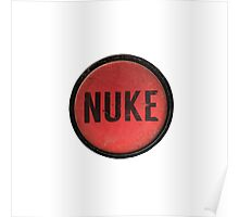 Red Nuke Button Poster