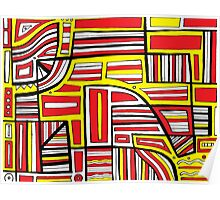 Winiecki Abstract Expression Yellow Red Black Poster