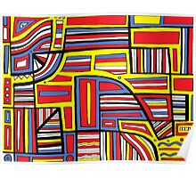 Manzie Abstract Expression Yellow Red Blue Poster