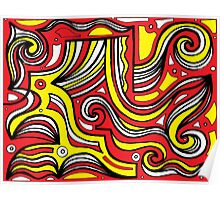 Yost Abstract Expression Yellow Red Black Poster
