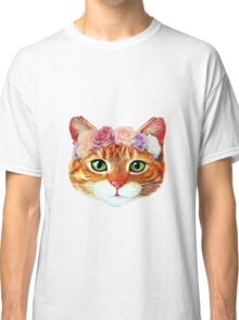 Flower Crowned Orange Tabby Cat Classic T-Shirt