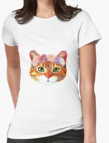 Flower Crowned Orange Tabby Cat Womens Fitted T-Shirt