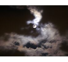 Lady Moon in a windy cloudy night Photographic Print