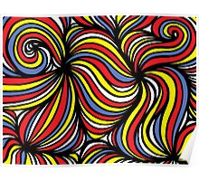 Stehlik Abstract Expression Yellow Red Blue Poster