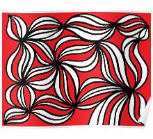 Degado Abstract Expression Red White Black Poster