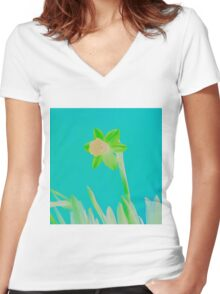 Daffodil Light Green Women's Fitted V-Neck T-Shirt