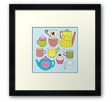 Teapots, cupcakes & more Framed Print