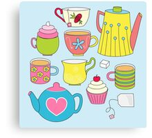 Teapots, cupcakes & more Canvas Print