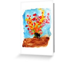 Black dog with Blooming Spring Tree Greeting Card