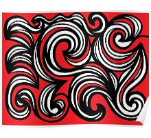 Coverton Abstract Expression Red White Black Poster