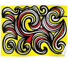 Lanteigne Abstract Expression Yellow Red Black Poster