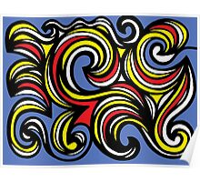Redemer Abstract Expression Yellow Red Blue Poster