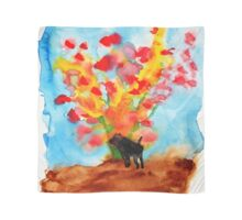 Black dog with Blooming Spring Tree Scarf
