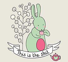 Bunny drinking tea by Stephanie Keyes
