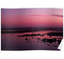 Gorgeous pink beach sunset Poster