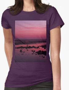 Gorgeous pink beach sunset Womens Fitted T-Shirt