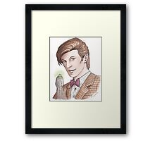 "Eleventh Doctor say ""Geronimo!"" Framed Print"