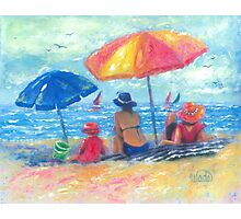 At the Beach With Mom and Grandma Photographic Print