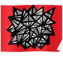 Kujala Abstract Expression Red White Black Poster