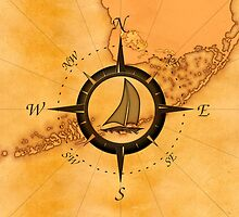 Florida Keys Map Compass by BailoutIsland