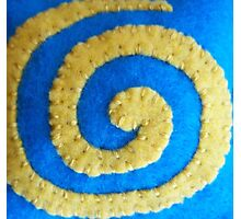 Yellow Spiral on Blue by Holly Cannell Photographic Print