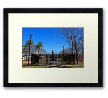 Statue Of Nikola Tesla In Front Of Wardenclyffe Laboratory Building | Shoreham, New York Framed Print