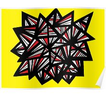 Jonte Abstract Expression Yellow Red Black Poster