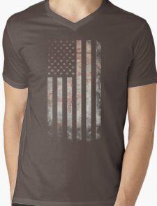 Vintage USA Flag Mens V-Neck T-Shirt
