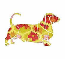 Garden Charm IV:  Shabby Floral and Geometric in Bright Orange and Yellow with Dog by LSWalthery