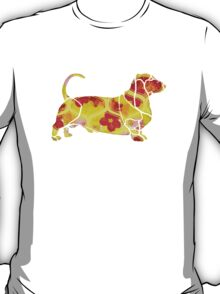 Garden Charm IV:  Shabby Floral and Geometric in Bright Orange and Yellow with Dog T-Shirt