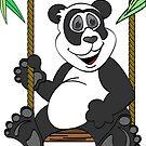 Blue Panda Bear Cartoon by Graphxpro