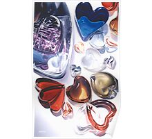 """""""Glass Hearts"""" Watercolor Poster"""