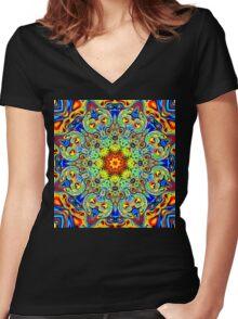 Psychedelic Melting Pot Mandala   Women's Fitted V-Neck T-Shirt