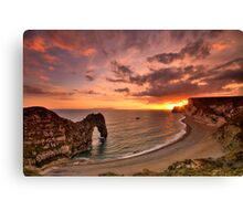 Durdle Sunset - HDR - Jurassic Coast World Heritage Site Series Canvas Print