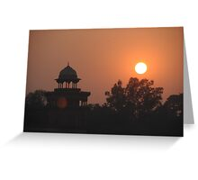 Sunset at Taj Mahal Greeting Card